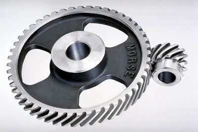 Helical gears in a right angle drive