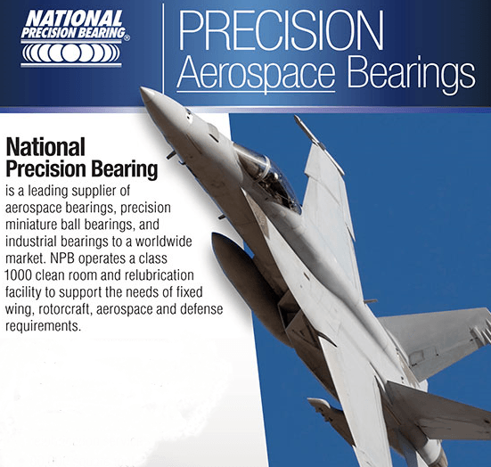 Aerospace bearing advertisment from National Precision Bearing