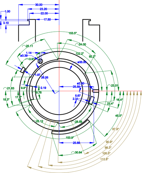 f mount lens technical drawing