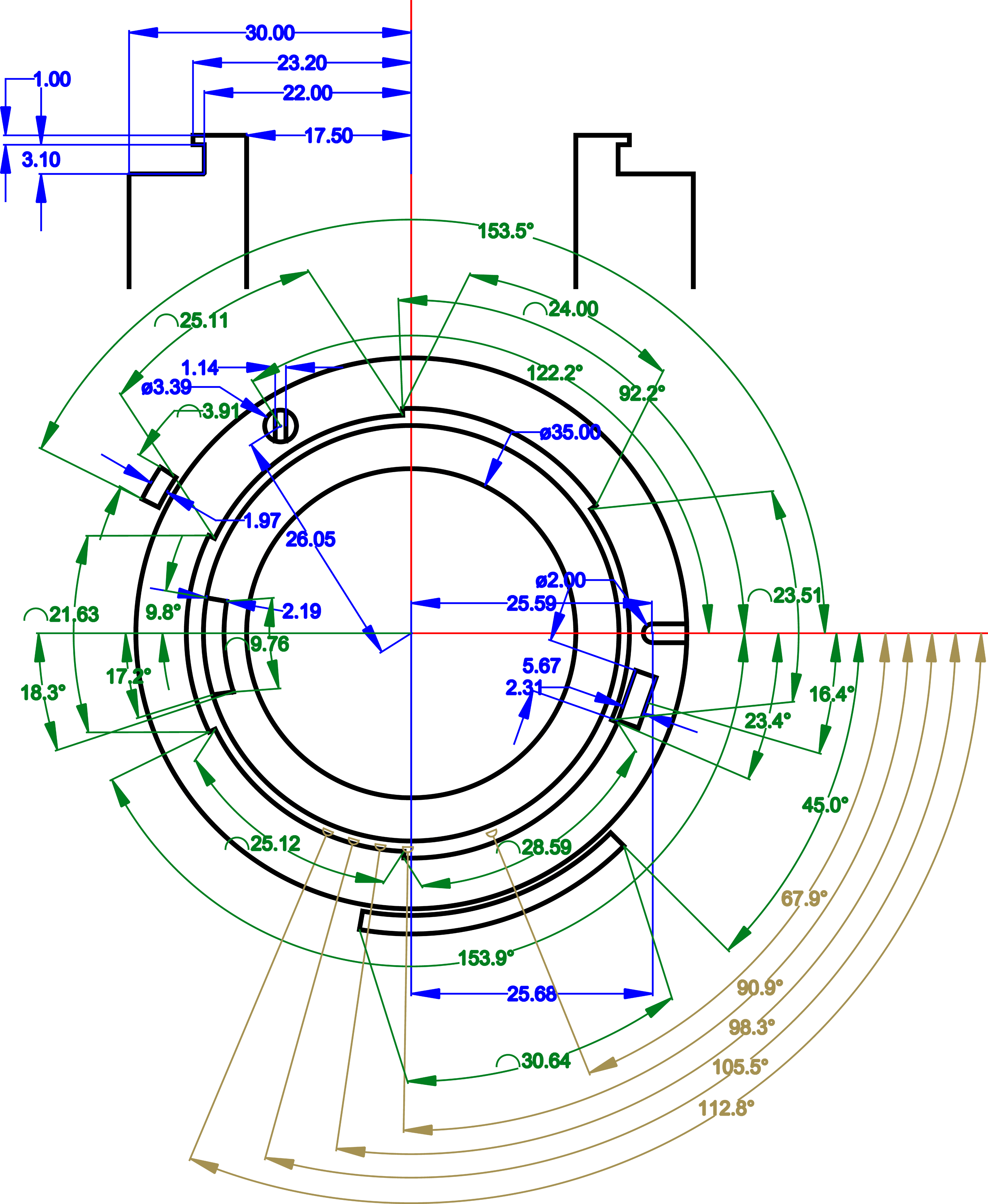 F lens mount mechanical technical drawing