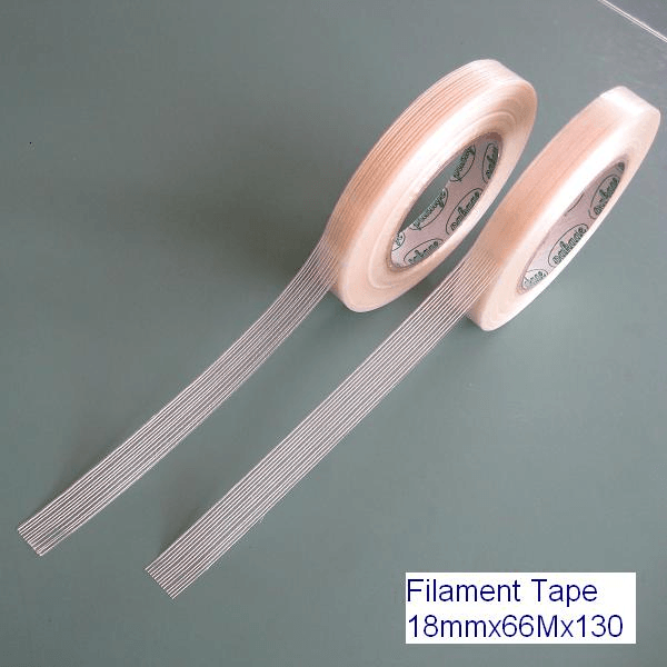 Filament tape, also referred to as strapping tape