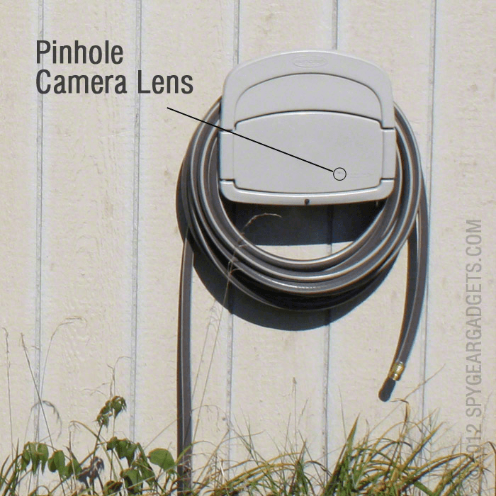 Pinhole camera in hose reel