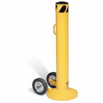 Moveable bollard wheels into action to create a barrier that diverts traffic in temporary applications
