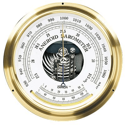 A barometer gauge, with inHg (inner numbers) and hectopascals (hPa)