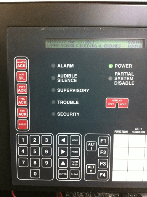 Slecting fire alarm panel functions
