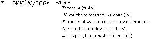 disc braking torque equation