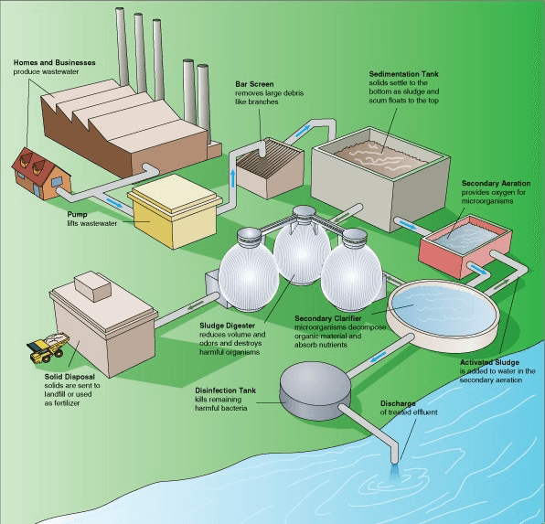 Steps in a typical wastewater treatment process from Wikibooks
