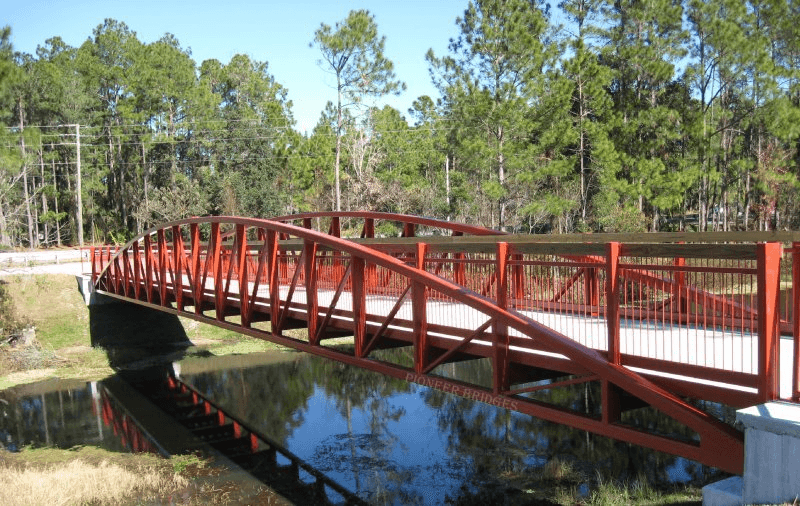 Truss and arch style prefab bridge