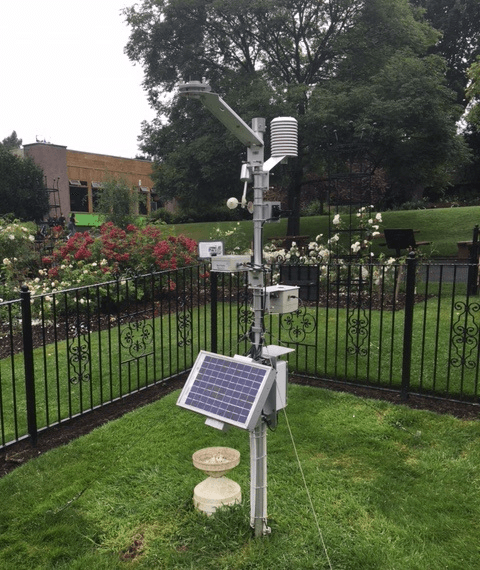 Weather station with multiple sensors and solar panel