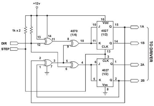 A simple, bidirectional, two-phase drive stepper motor translator circuit