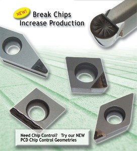 PCD Tipped Inserts with Chipbreakers-Image
