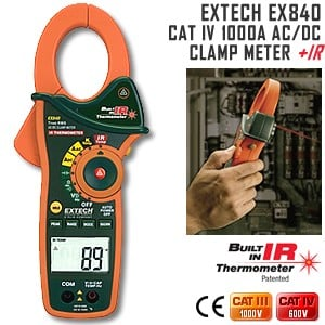 EX840 CAT IV 1000A AC/DC Clamp Meter w/Infrared-Image