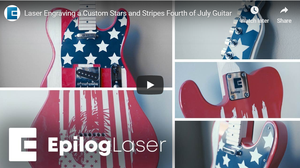 Laser Engraving Fourth of July Custom Guitar-Image
