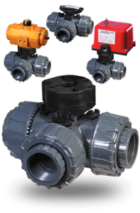 PTP Series PVC 3-way Diverter Ball Valves -Image