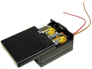 Enclosed 8 AA Battery Holder with Switch, 12 Volts-Image