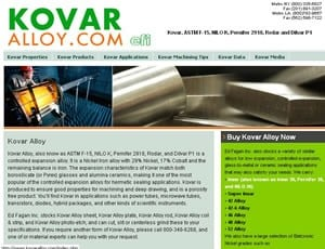 Kovar (ASTM F-15) Dedicated Website-Image