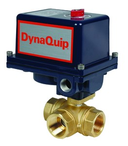 Electric Actuated 3-Way Brass Ball Valve-Image