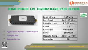 High Power 149-165MHz Band Pass Filter from Taiwan-Image
