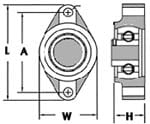 2 Mounting Bolt Holes - showing dimensions from front and side view (drawing)