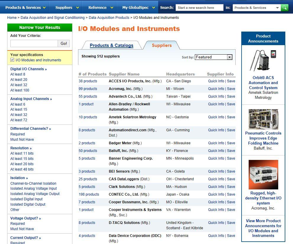 Catalogs Directories: IEEE GlobalSpec Media Solutions
